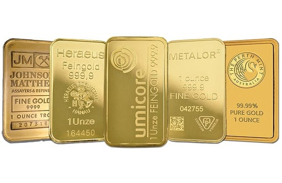 Authentic gold bars always have a manufacturer stamp on the face