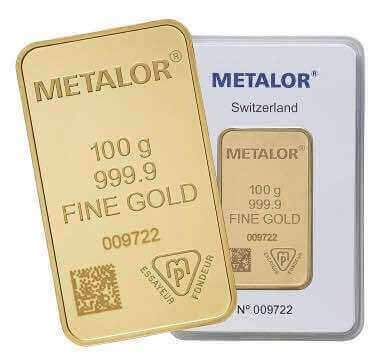 The Metalor 100g gold bar is a popular investment option with Physical Gold Limited customers