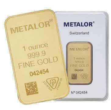 This 1oz bar from Metalor is clearly marked as 999.9 purity and is available to buy from Physical Gold Limited